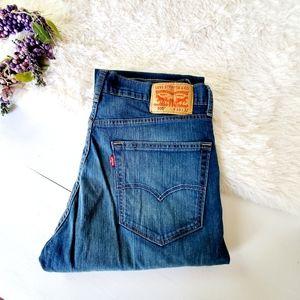 Mens Levi's 505 Dark Wash Faded Straight Leg Jeans